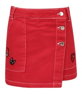 Red girl short with colorful patch