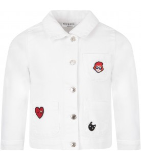 White girl jacket with colorful patches