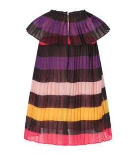 Multicolor girl dress with stripes