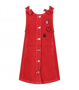 Red girl overalls with iconic patch