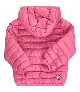 Fuchsia babygirl jacket with iconic logo