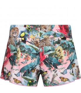 Multicolor girl swim short with parrots