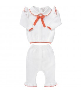 White suit with orange bow for baby girl