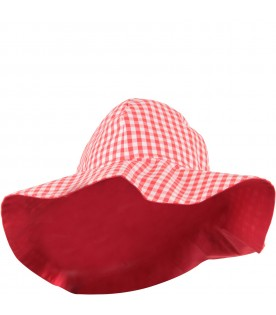 Red and white girl hat with logo