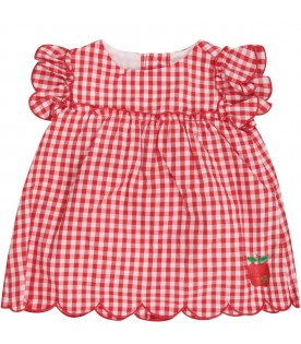 Red and white babygirl suit with iconic apple