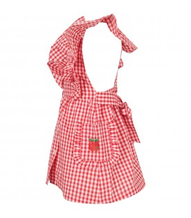 Red and white girl dress with checks
