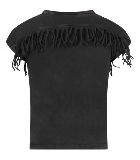Black girl T-shirt with fringes