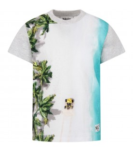 Grey boy T-shirt with colorful pint