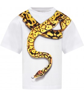 White boy T-shirt with colorful snake