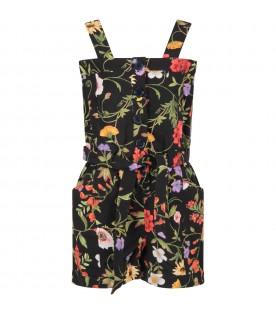 Black jumpsuit with flowers for girl