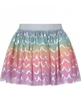 Multicolor girl skirt with silver waves