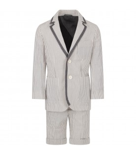 Grey and white boy suit