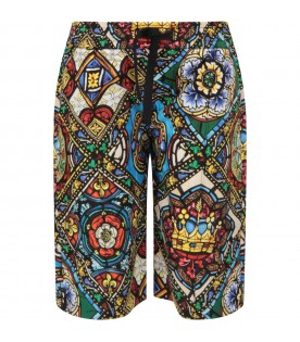 Multicolor boy short with colorful prints