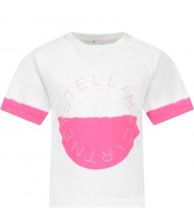 White girl T-shirt with fuchsia logo