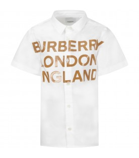 White boy shirt with beige logo