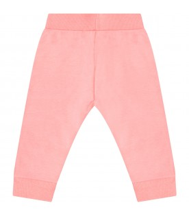 Pink sweatpants for girl with tigers