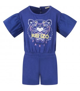 Blue summersuit for baby girl with iconic tiger