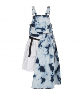 Denim girl overall with tie and die prints