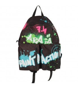 Black girl backpack with colorful spots and writing