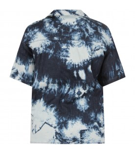 Blue and white boy shirt with logo