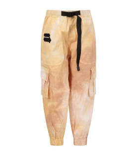 Beige boy cargo pants with logo