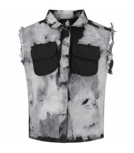 Grey and black boy vest with fringes