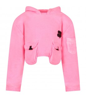 Neon pink girl sweatshirt with logo