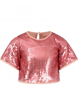 Pink girl T-shirt wiith sequins