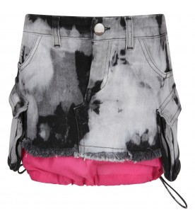 Grey and black girl skirt with tie and die prints