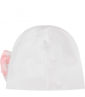 White babygirl hat with bow