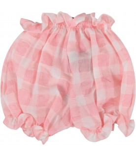 Pink and white babygirl coulotte with bow