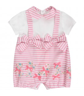 White and pink  babygirl rompers with colorful bears