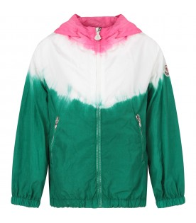 Fuchsia, white and green girl windbreaker with iconic patch