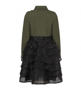 Green and black girl dress with colorful patches