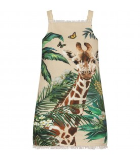 Beige girl dress with giraffe