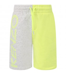 Grey and neon yellow kids short with logo