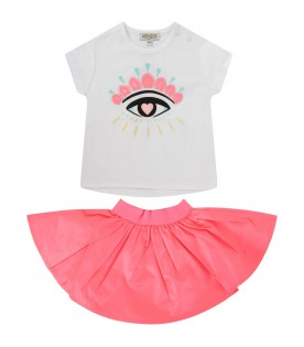White and neon fuchsia babygirl suit with iconic eye