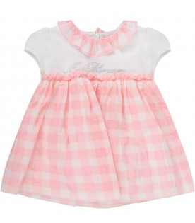 White and pink dress for baby girl with logo