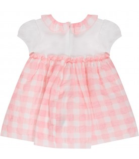 White and pink babygirl dress with logo
