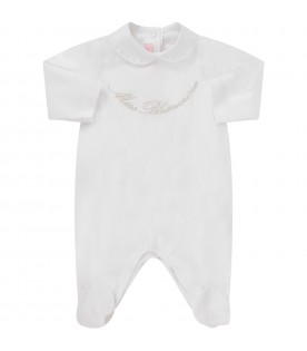 White babygrow for baby girl with silver logo