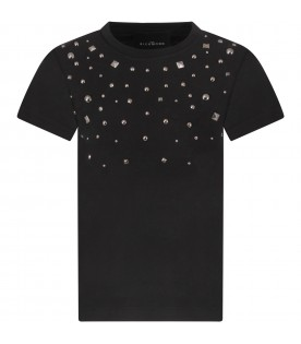 Black girl T-shirt with logo and studs