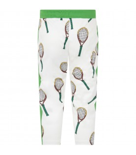 Ivory and green boy pants with tennis rackets