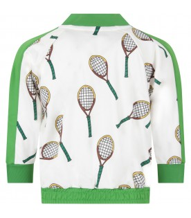 Ivory and green boy sweatshirt with tennis racketss