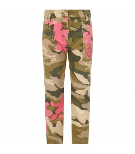 Green girl pants with logoed patch