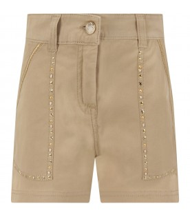 Beige girl short with gold studs