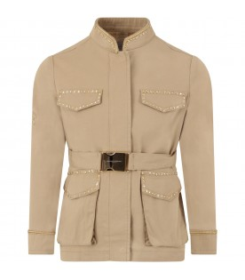 Beige girl trench with logo