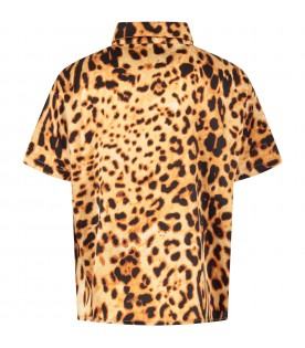 Beige kids shirt with animalier print