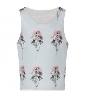 Light blue tank for girl top with flowers