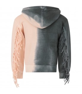 Grey and pink girl sweatshirt with fringes