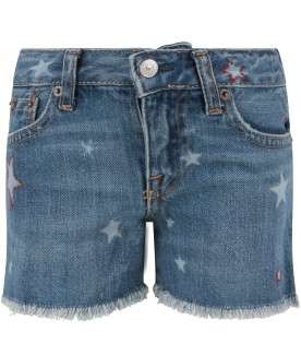 Denim girl short with stars